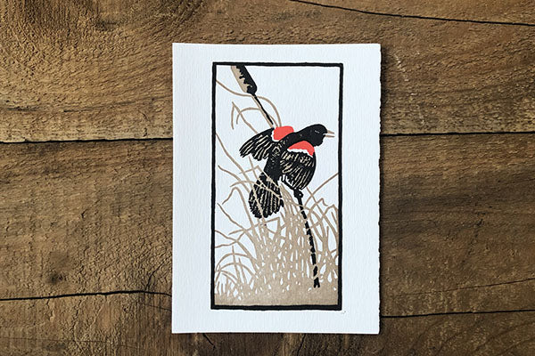 The Good Supply Pemaquid Midcoast Artisan Store Letterpress Card Saturn Press Made in Maine USA Red Wing Blackbird