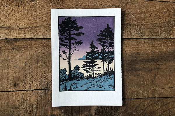 The Good Supply Pemaquid Midcoast Artisan Store Letterpress Card Saturn Press Made in Maine USA Twilight Sheepscot River