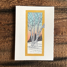 Saturn Press Letterpress Holiday Card Solstice Peace on Earth is made in Maine USA