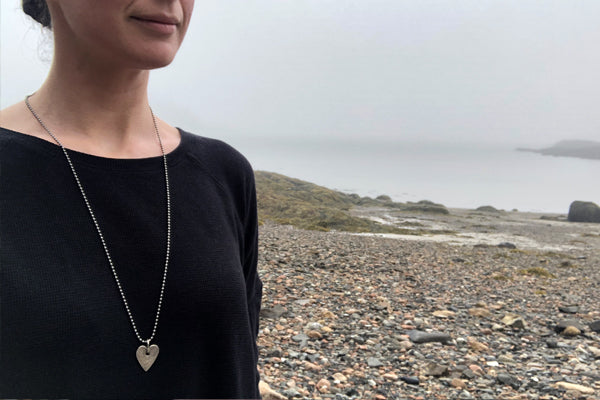 The Good Supply Midcoast Artisan Store Silver Hammered Heart Strength 6 Necklace by Anita Roelz Circle Stone Designs Rugged Jewelry Made in Maine USA