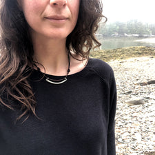 The Good Supply Midcoast Artisan Store Silver and Dark Brown Leather Thin Whalebone Hammered Necklace by Anita Roelz Circle Stone Designs Rugged Jewelry Made in Maine USA