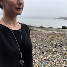 The Good Supply Midcoast Artisan Store Tab Beach Stone Angular Zipper Silver Hammered Necklace by Anita Roelz Circle Stone Designs Rugged Jewelry Made in Maine USA