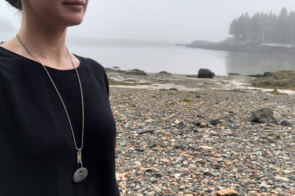 The Good Supply Midcoast Artisan Store Tab Beach Stone Round Zipper Silver Hammered Necklace by Anita Roelz Circle Stone Designs Rugged Jewelry Made in Maine USA