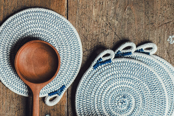 The Good Supply Midcoast Maine Artisan Store Tethermade Coastal Rope Coasters in Navy Made in Maine USA