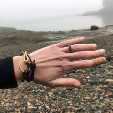 The Good Supply Midcoast Artisan Store Thick Brass and Silver Hammered Fishhook Bracelet Brown Leather by Anita Roelz Circle Stone Designs Rugged Jewelry Made in Maine USA