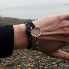 The Good Supply Midcoast Artisan Store Thin Silver Hammered Fishhook Bracelet Brown Leather by Anita Roelz Circle Stone Designs Rugged Jewelry Made in Maine USA