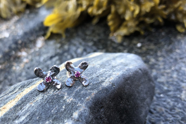 The Good Supply Midcoast Artisan Store Tiny Hydrangea Flower Stud Earrings with Rhodolite Garnet and Oxidized Sterling Silver by Christine Peters Fine Jewelry Made in Maine USA