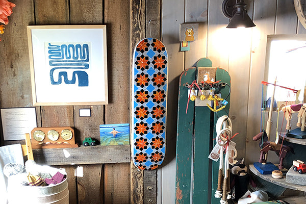 The Good Supply Midcoast Maine Artisan Store Mosaic Glass Artist Liz Elizabeth Martone EFM Studio Blue and Orange Skate Deck Wall Hanging Art Piece Made in Maine USA