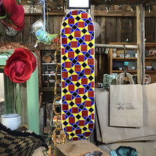 The Good Supply Midcoast Maine Artisan Store Mosaic Glass Artist Liz Elizabeth Martone EFM Studio Primary Colors Skate Deck Wall Hanging Art Piece Made in Maine USA