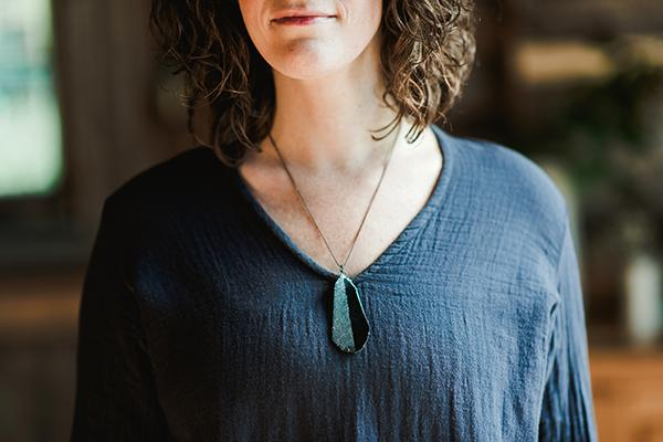 The Good Supply in Pemaquid Maine Enamel Artist Kate Mess Statement Necklace Charred No.1 Handmade in USA
