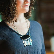 The Good Supply in Pemaquid Maine Enamel Artist Kate Mess Statement Necklace Tidal Necklace No.5 Bubbles Handmade in USA