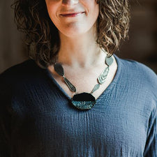The Good Supply in Pemaquid Maine Enamel Artist Kate Mess Statement Necklace Tidal 9 Charred Handmade in USA