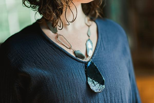 The Good Supply in Pemaquid Maine Enamel Artist Kate Mess Statement Necklace Tidal 2 Charred Handmade in USA