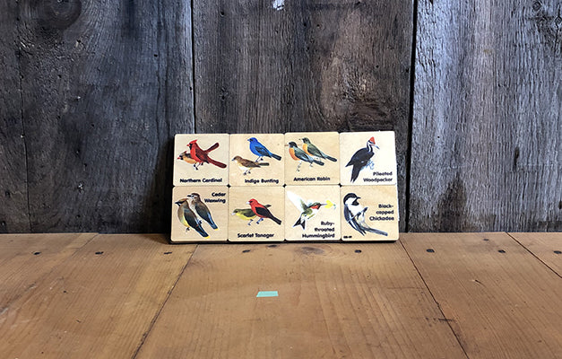 The Good Supply in Pemaquid Maine Artist Collection Maple Landmark Made in USA Backyard Birds Memory Tiles Game