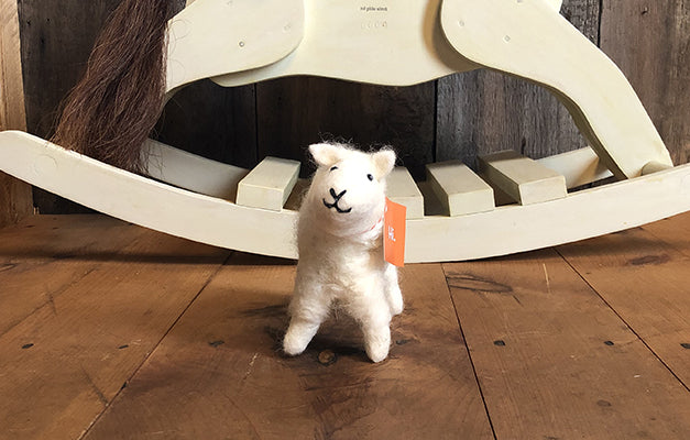 The Good Supply in Pemaquid Maine Artist Collection Mulxiply Hand felted Wool White Lamb Toy Stuffed Animal
