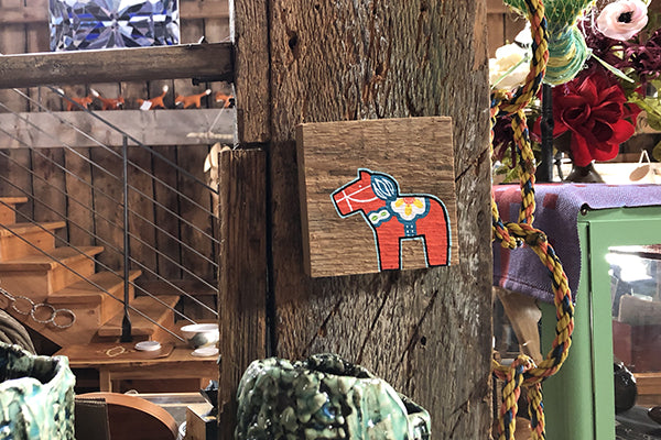 The Good Supply Pemaquid Maine Artist Bevin Strider Holmberg of Mermaid Meadow Miniature Barn Wood Swedish Horse Painting Made in Maine USA