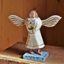 The Good Supply Pemaquid Maine Artist Dan Strawser Wood Pocket Knife Folk Art Carving Made in Maine USA Angel with Flowers