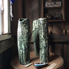 The Good Supply Pemaquid Maine Environmental Artist Jonathan Mess Ceramic Tall Vase Coastal Series 3 Green Made in Maine USA