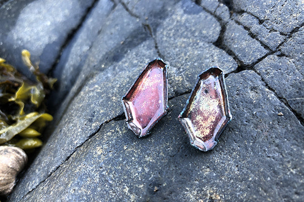 The Good Supply in Pemaquid Maine Enamel Artist Kate Mess Barnacle No 43 Post Earrings in Firescale Enamel and Argentium Silver Handmade in USA