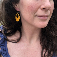 The Good Supply in Pemaquid Maine Enamel Artist Kate Mess Bitty Barnacle Fragment Cutout Earrings in Mustard and Mint Enamel and Argentium Silver Handmade in USA