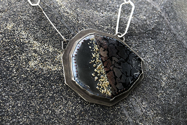 The Good Supply in Pemaquid Maine Enamel Artist Kate Mess Long Statement Tidal Necklace No 3 Encrusted Enamel Handmade in USA
