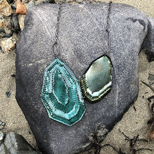 The Good Supply in Pemaquid Maine Enamel Artist Kate Mess Statement Tidal Necklace No 7 Enamel Oxidized Argentium Silver Handmade in USA