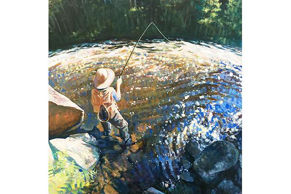 The Good Supply in Pemaquid Maine Kinesthetic Intelligence Artist Jessica Ives Fly Fishing Large Scale Oil Painting Made in USA