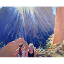 The Good Supply in Pemaquid Maine Kinesthetic Intelligence Contemporary Artist Jessica Ives People Hiking Oil Painting Two Women Made in USA