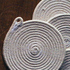 The Good Supply in Pemaquid Maine Sewn Rope Artist TetherMade Coasters in White and Navy Made in USA