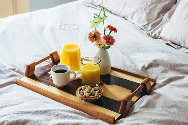 The Good Supply in Pemaquid Maine Woodworking Artist Louis Charlett Breakfast in Bed Wooden Serving Tray with Handles Brazilian Rosewood Made in USA