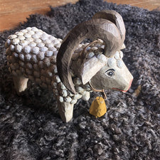 The Good Supply in Pemaquid Maine Woodworking-Folk Carving Artist Dan Strawser Ram Sculpture Made in USA