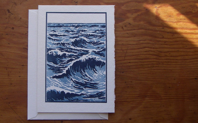 Saturn Press letterpress card, The Sea - Ocean Scene