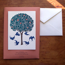 Saturn Press letterpress card, Orange Tree & Swallows