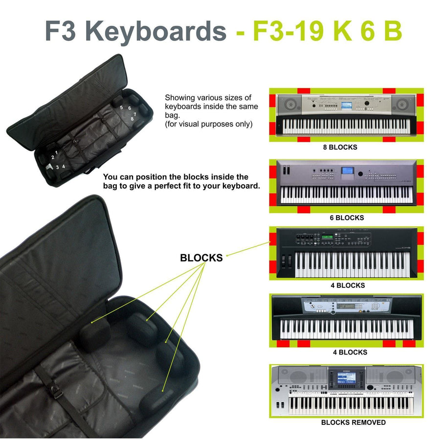 Gig Bag for Keyboard 06 (61-76 keys), Keyboard & Synthesizer gig bags,- Fusion-Bags.com - Keyboard 06 (61-76 keys) Gig Bag - Fusion-Bags.com