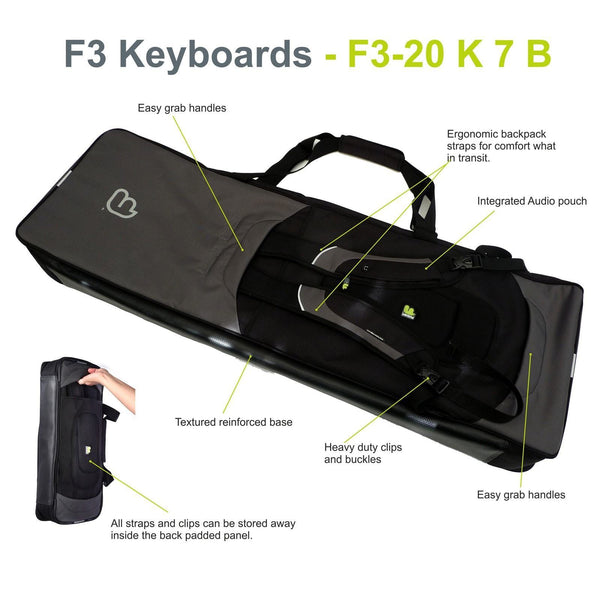 Gig Bag for Keyboard 07 (61-76 keys), Keyboard & Synthesizer gig bags,- Fusion-Bags.com - Keyboard 07 (61-76 keys) Gig Bag - Fusion-Bags.com