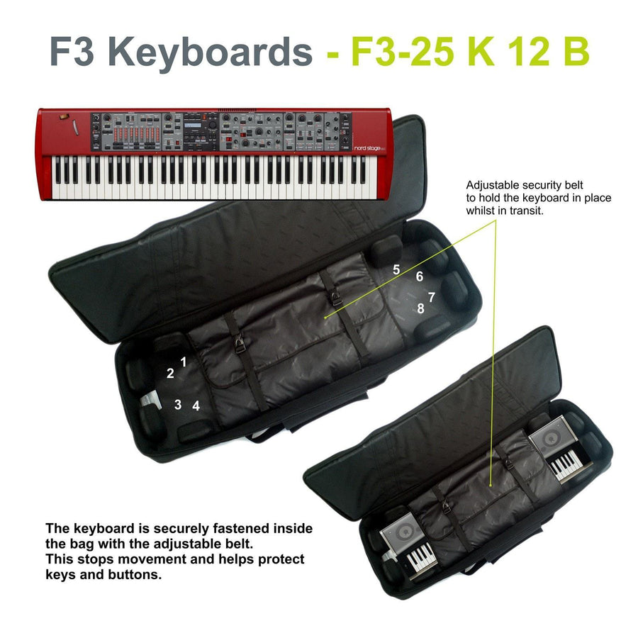 Gig Bag for Keyboard 12 (76-88 keys), Keyboard & Synthesizer gig bags,- Fusion-Bags.com - Keyboard 12 (76-88 keys) Gig Bag - Fusion-Bags.com