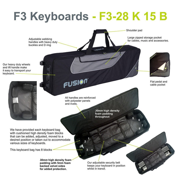 Gig Bag for Keyboard 15 (76-88 keys), Keyboard & Synthesizer gig bags,- Fusion-Bags.com - Keyboard 15 (76-88 keys) Gig Bag - Fusion-Bags.com
