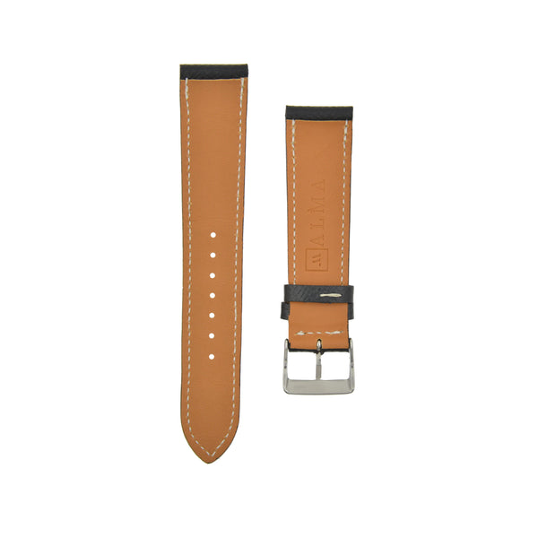 "Textured ""Epsom"" Calfskin Watchstrap Black"