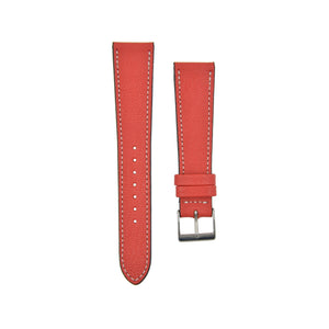"Textured ""Chèvre"" Goatskin Watchstrap Rouge Red"