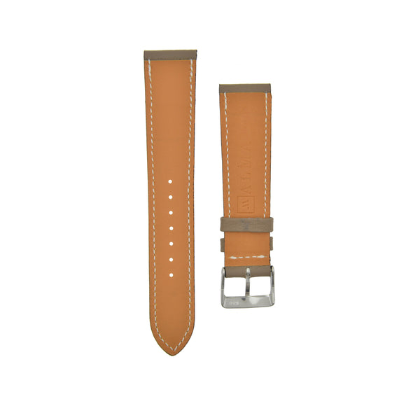 "Textured ""Paris"" Calfskin Watchstrap Etoupe Grey"