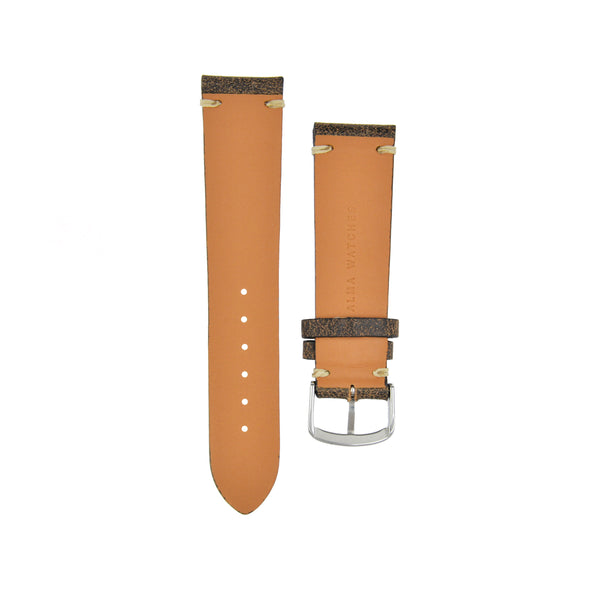 "Cracked ""Vintage"" Aged Leather Watchstrap Truffle Brown"