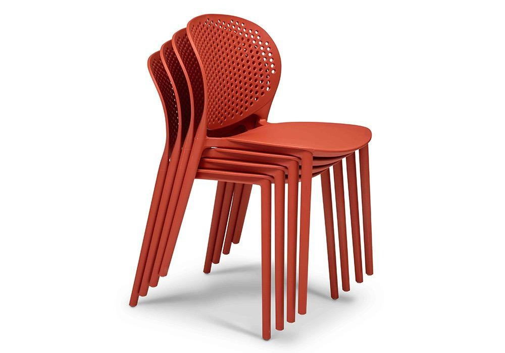 Bailey Polypropylene Side Chair in Dark Orange