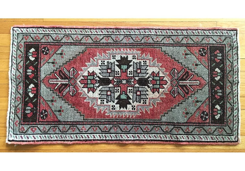 Vintage Oushak Design Prayer Rug