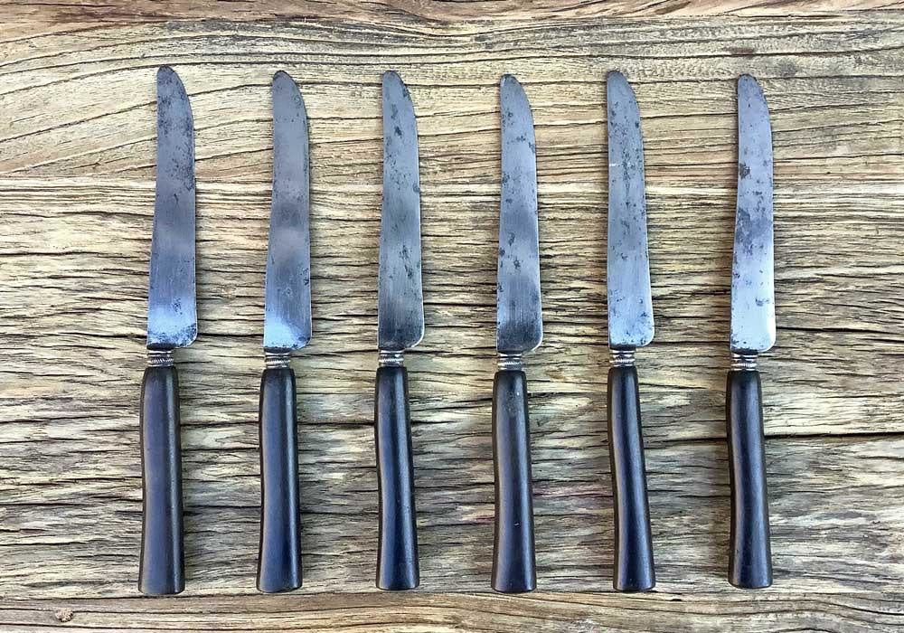 Set of Six Vintage French Ebony Knives