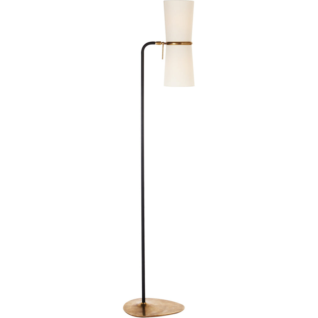 Clarkson Floor Lamp in Black w/ Linen Shade
