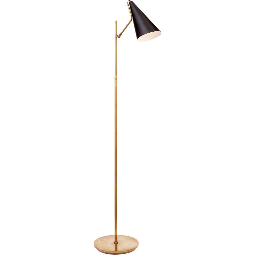 Clemente Floor Lamp Antique Brass w/ Black Shade