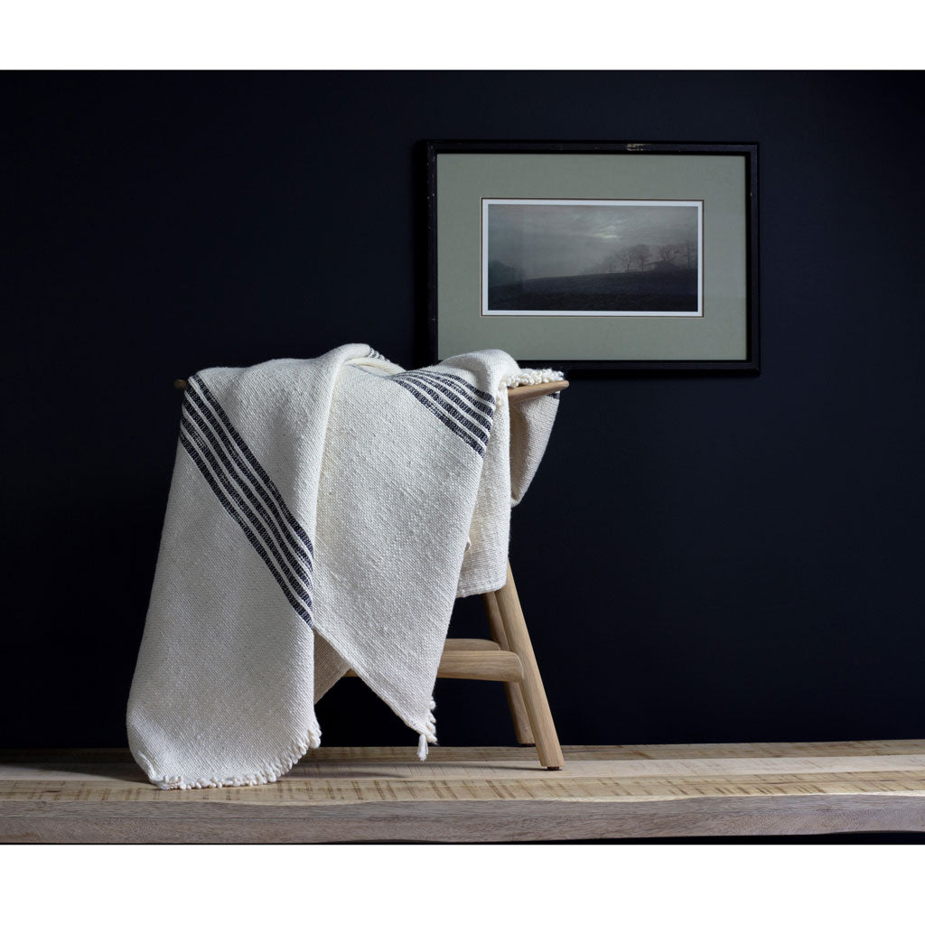 Heavyweight Poyvi Blanket in Black Stripe
