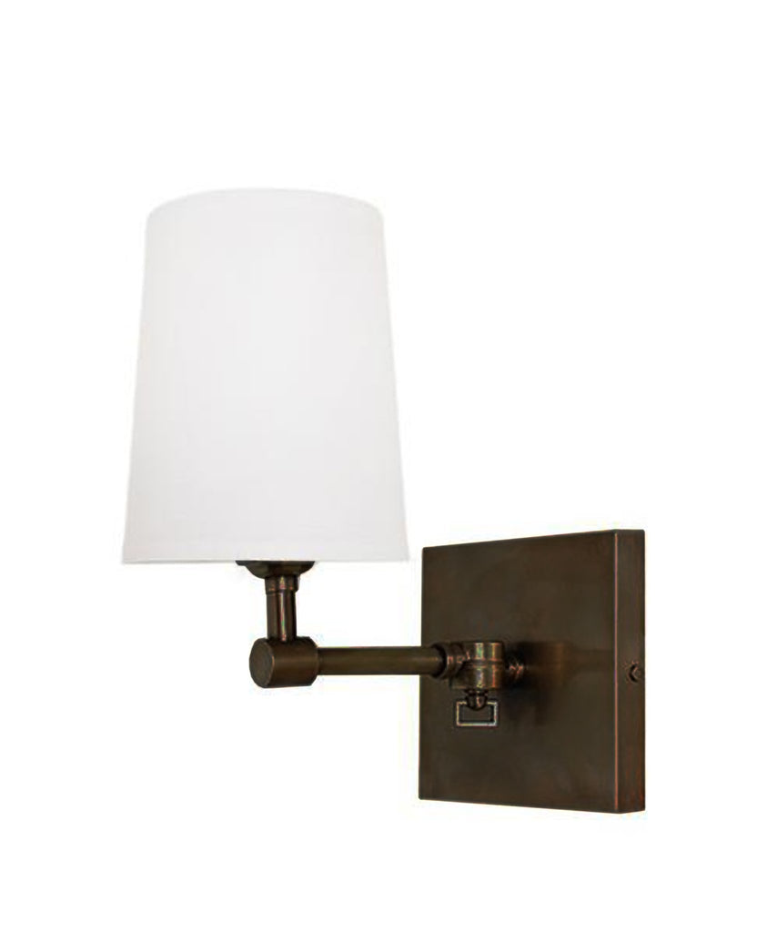 Hampton Pivoting Wall Sconce w/ Linen Shade in Bronze