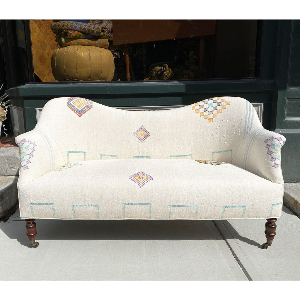 John Derian Dromedary Loveseat in One of a Kind Moroccan Kilim Fabric