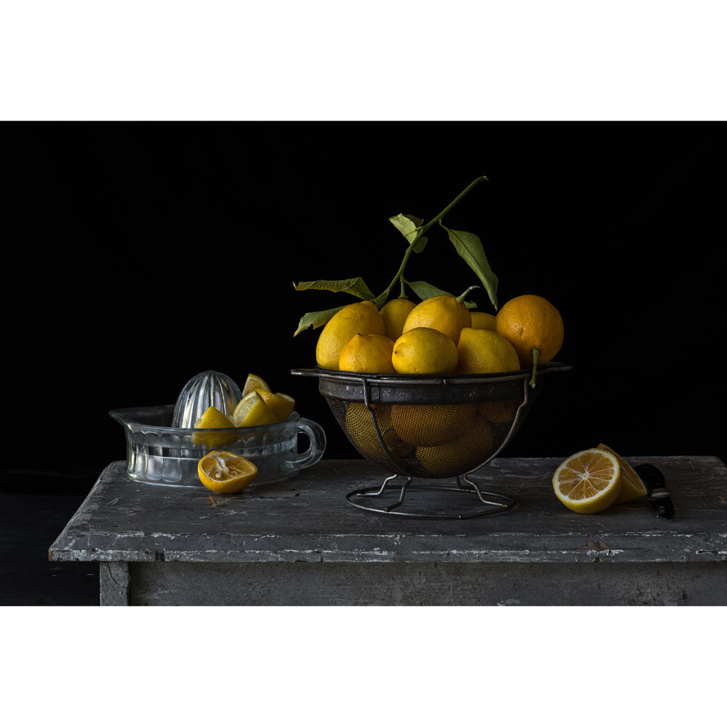 Lynn Karlin's Lemons in Vintage Colander, Signed & Numbered Print